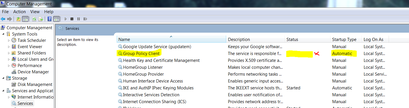 Failed to connect to a windows service – Group Policy Client