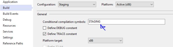 Build - Conditional compilation symbols